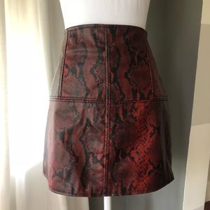 ASOS Mini Skirt in Leather Look with Red Snake
